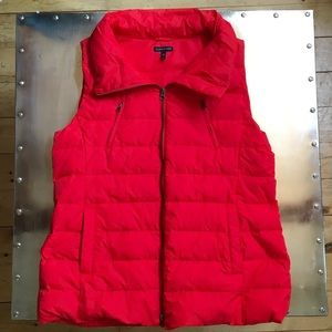 Eileen Fisher Down Puffer Vest Large Red